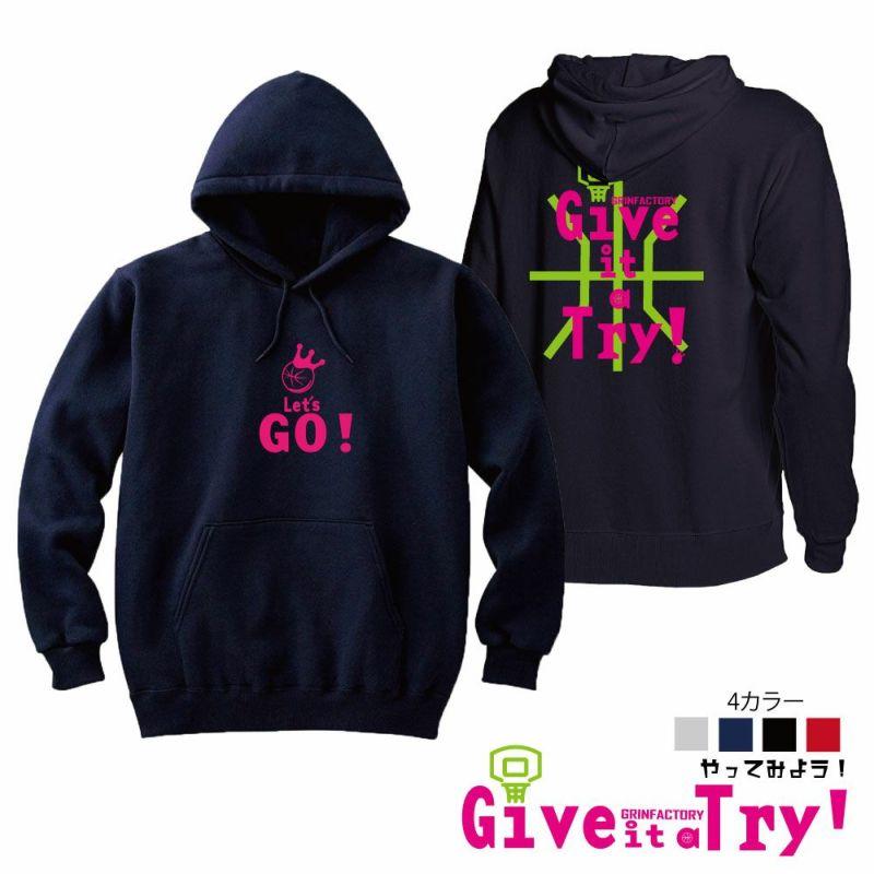 プルオーバーパーカー「Give it a Try(やってみよう!)」(XS-XL)